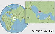 "Savanna Style Location Map of the area around 27°19'44""N,51°55'29""E"