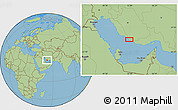 "Savanna Style Location Map of the area around 27°19'44""N,52°46'29""E"