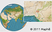 Satellite Location Map of Lārkāna
