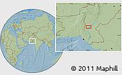 Savanna Style Location Map of Lārkāna, hill shading