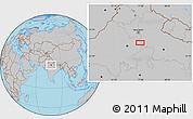 Gray Location Map of Mathura