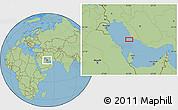 "Savanna Style Location Map of the area around 27°48'57""N,51°4'30""E"