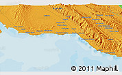 """Political 3D Map of the area around 27°48'57""""N,51°55'29""""E"""