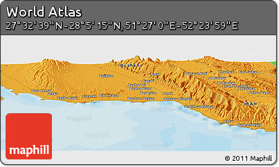 """Political Panoramic Map of the Area around 27°48'57""""N,51°55'29""""E"""