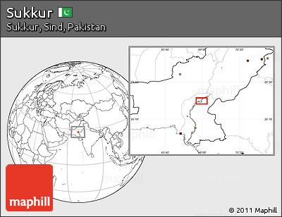 Blank Location Map of Sukkur
