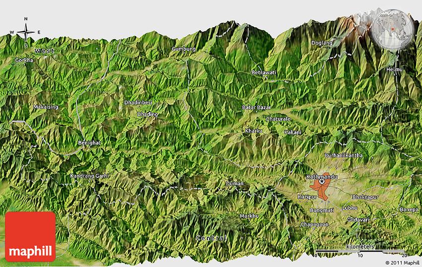 Satellite 3D Map of Kathmandu