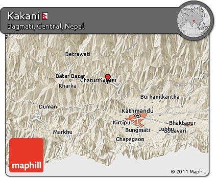Shaded Relief Panoramic Map of Kakani