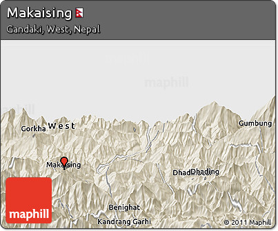 Shaded Relief Panoramic Map of Makaising