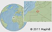 Savanna Style Location Map of Tindouf, hill shading