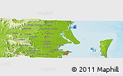 """Physical Panoramic Map of the area around 27°0'12""""S,153°4'29""""E"""