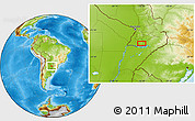 """Physical Location Map of the area around 27°0'12""""S,56°52'30""""W"""