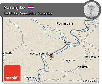 Shaded Relief 3D Map of Naranjito
