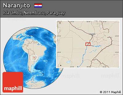 Shaded Relief Location Map of Naranjito
