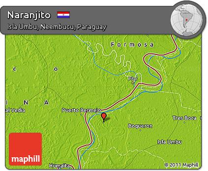 Physical Map of Naranjito