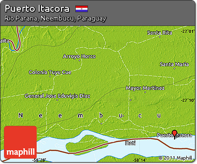 Physical Map of Puerto Itacora