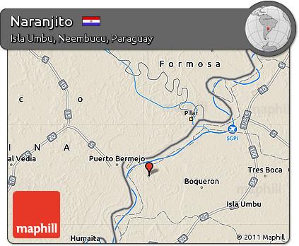 Shaded Relief Map of Naranjito