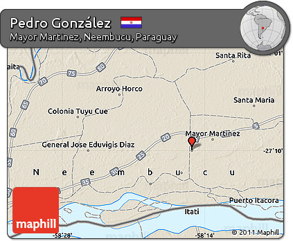 Shaded Relief Map of Pedro González