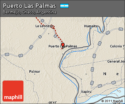 Shaded Relief Map of Puerto Las Palmas