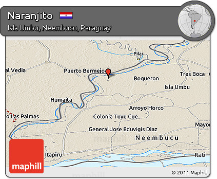 Shaded Relief Panoramic Map of Naranjito