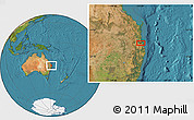 Satellite Location Map of Brisbane