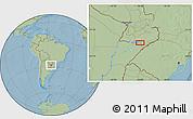 Savanna Style Location Map of Encarnación, hill shading