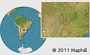 Satellite Location Map of Yabebyry