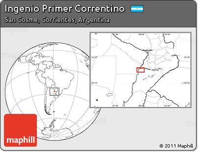 Blank Location Map of Ingenio Primer Correntino