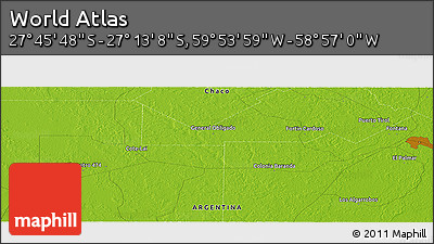 """Physical Panoramic Map of the Area around 27°29'28""""S,59°25'29""""W"""