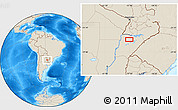 """Shaded Relief Location Map of the area around 27°58'39""""S,57°43'30""""W"""