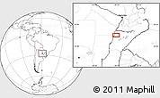 """Blank Location Map of the area around 27°58'39""""S,58°34'30""""W"""