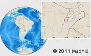 """Shaded Relief Location Map of the area around 27°58'39""""S,58°34'30""""W"""