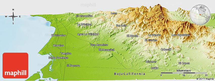 Physical Panoramic Map of San Angel
