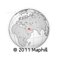 """Outline Map of the Area around 28° 18' 5"""" N, 45° 58' 30"""" E, rectangular outline"""