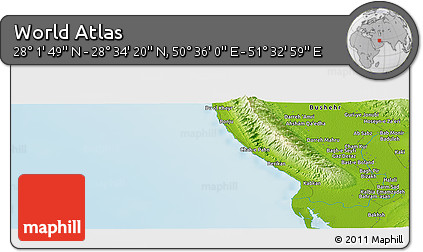 """Physical Panoramic Map of the Area around 28°18'5""""N,51°4'30""""E"""