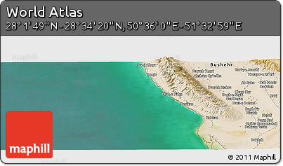 "Satellite Panoramic Map of the Area around 28°18'5""N,51°4'30""E"
