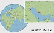 "Savanna Style Location Map of the area around 28°18'5""N,51°55'29""E"