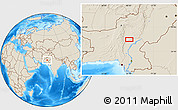 """Shaded Relief Location Map of the area around 28°18'5""""N,68°4'29""""E"""