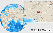 """Shaded Relief Location Map of the area around 28°18'5""""N,68°55'30""""E"""