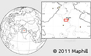 """Blank Location Map of the area around 28°18'5""""N,76°34'29""""E"""