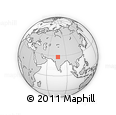 """Outline Map of the Area around 28° 18' 5"""" N, 76° 34' 29"""" E, rectangular outline"""