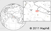"""Blank Location Map of the area around 28°18'5""""N,79°58'29""""E"""