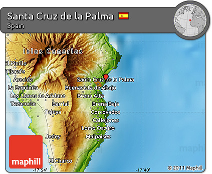 Free Physical Map of Santa Cruz De La Palma