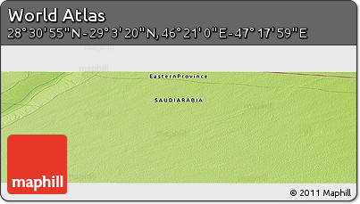 """Physical Panoramic Map of the Area around 28°47'8""""N,46°49'30""""E"""