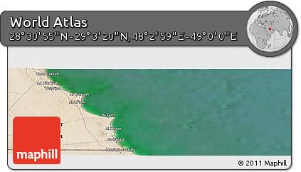"Satellite Panoramic Map of the Area around 28°47'8""N,48°31'29""E"