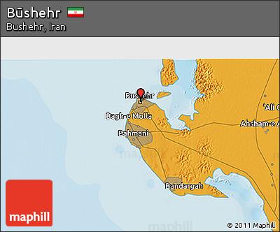Political 3D Map of Būshehr