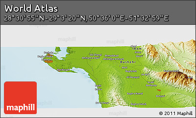 """Physical Panoramic Map of the Area around 28°47'8""""N,51°4'30""""E"""