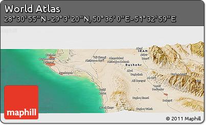 "Satellite Panoramic Map of the Area around 28°47'8""N,51°4'30""E"