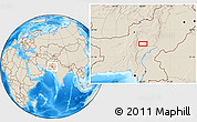 """Shaded Relief Location Map of the area around 28°47'8""""N,68°4'29""""E"""
