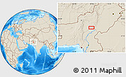"""Shaded Relief Location Map of the area around 28°47'8""""N,68°55'30""""E"""