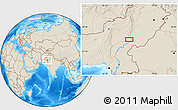 """Shaded Relief Location Map of the area around 28°47'8""""N,69°46'30""""E"""